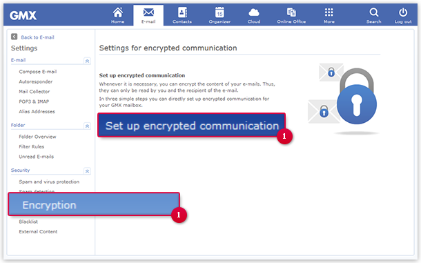 How to get to the encryption settings page