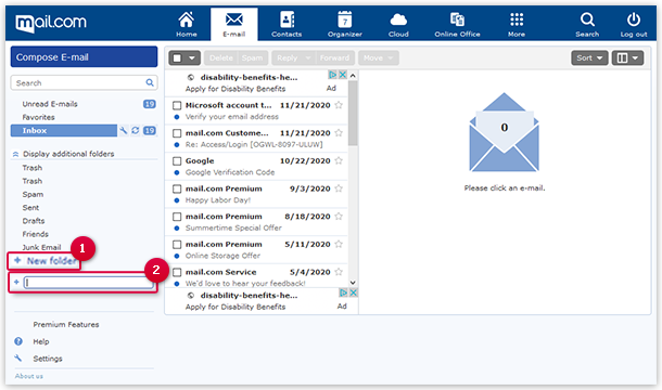 Creating a new folder in the mailbox