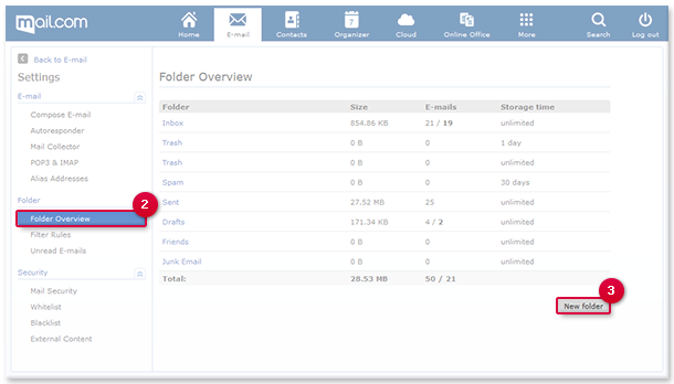 Create your own sub-folders, for example to sort faxes into a separate folder.