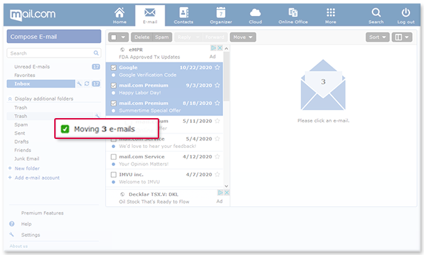 How to move email to a folder using drag & drop