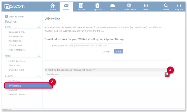 Deleting an E-mail Address or Domain from the Whitelist