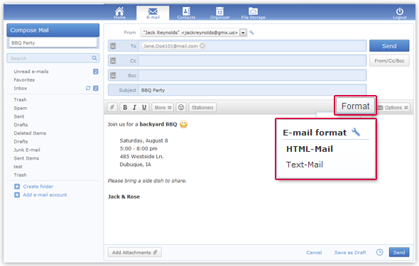 You can also write your email as a text-only email