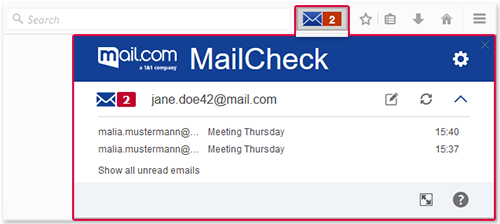 mail.com MailCheck in minimized mode