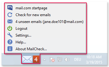 Using MailCheck from the task bar