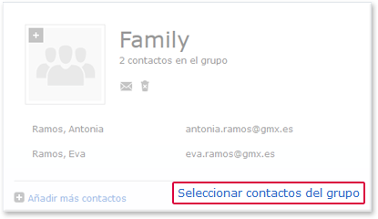 Selecting contacts from a group
