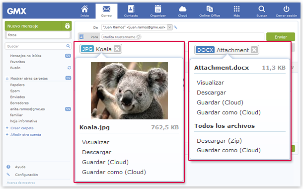 Manage attachments using Cloud, Online Office or your computer.