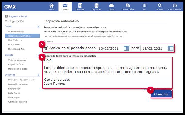 Configuración de una respuesta automática