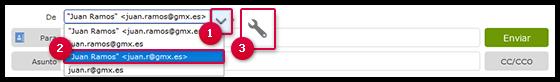 Captura de pantalla: Cómo seleccionar una dirección de alias