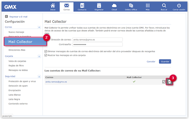 Deleting a POP3 Mail Collector
