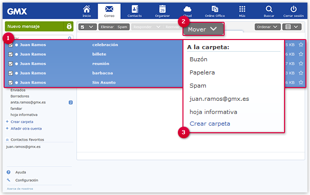 """How to move email to a folder using the """"Move"""" button"""
