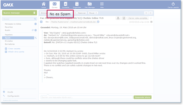 """How to mark an email as """"No Spam"""""""