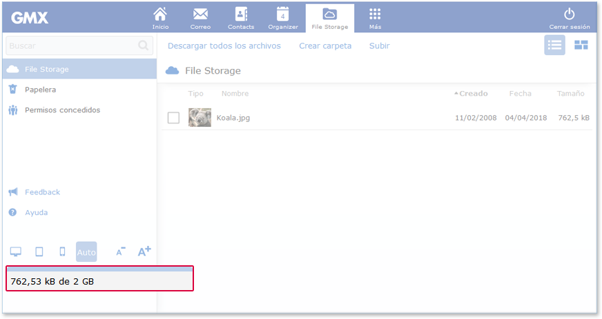 Comprobación del almacenamiento de archivos