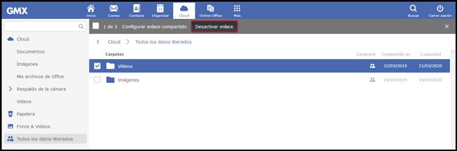 Desactivación de archivos compartidos