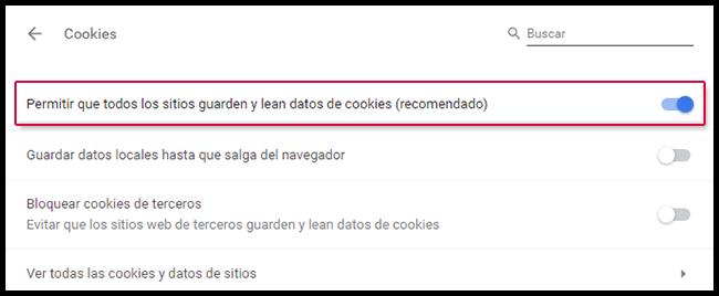 Enabling cookies
