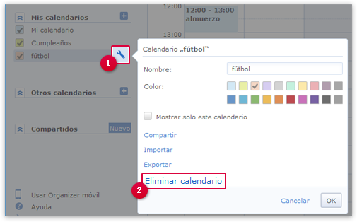 Eliminación de un calendario