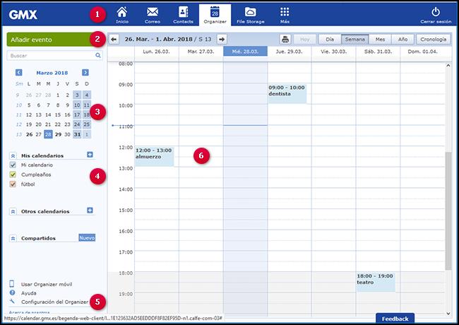 Vista general del calendario