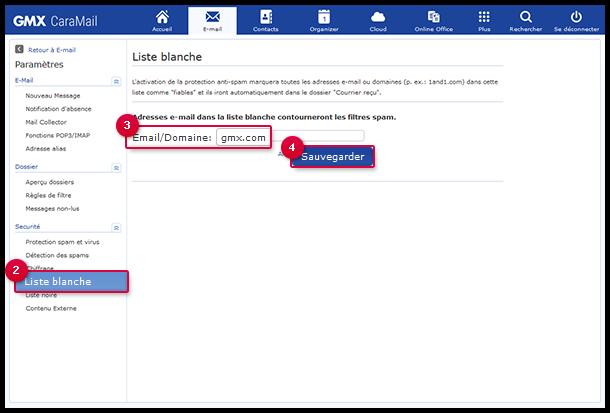 Saisir une adresse e-mail ou un nom de domaine dans la liste blanche