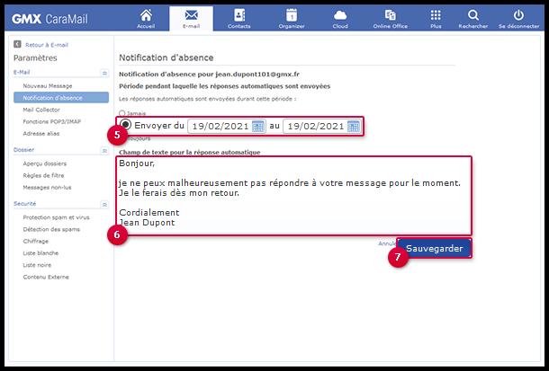 Configurer une notification d'absence
