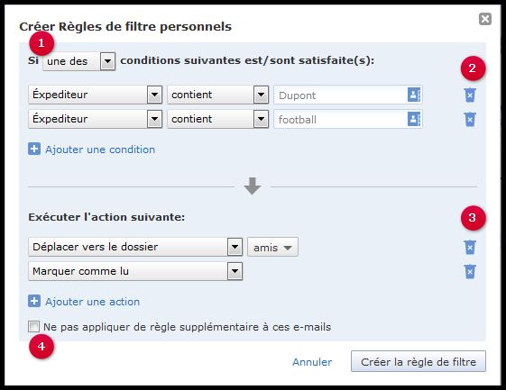 Règle de filtre personnalisée