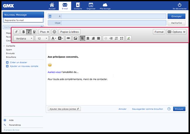 Vous disposez de nombreuses options pour le formatage des e-mails