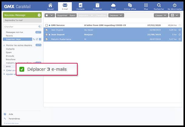 Comment déplacer des e-mails vers un dossier par glisser-déplacer