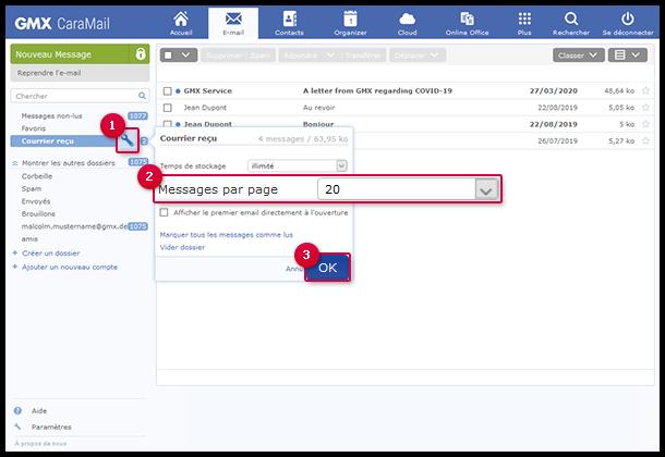 Définir le nombre d'e-mails affichés par page.
