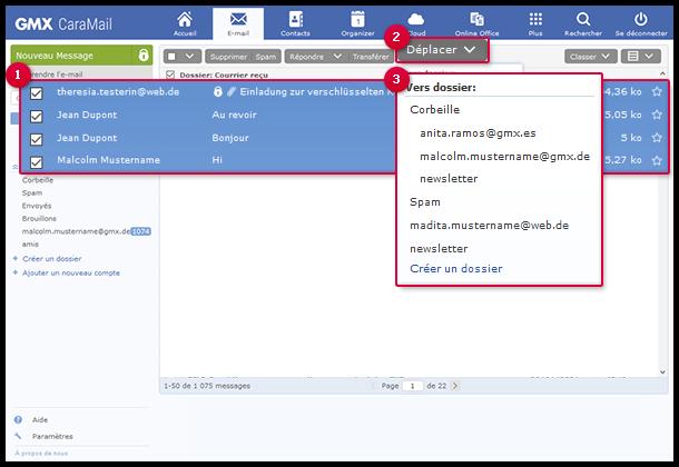 Comment déplacer des e-mails vers un dossier à l'aide du bouton «Déplacer»