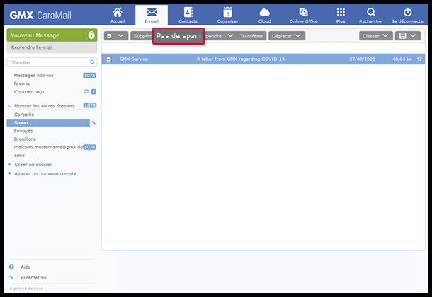 Comment marquer un e-mail comme «Pas de spam»