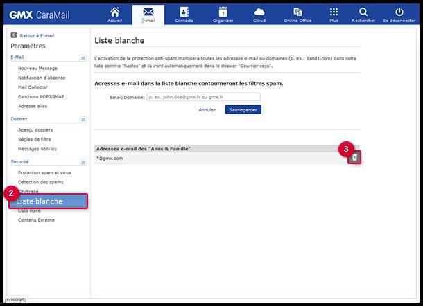 Supprimer une adresse e-mail ou un nom de domaine de la liste blanche