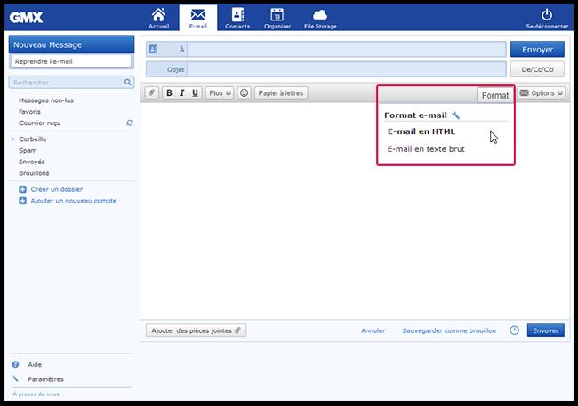 Vous pouvez également écrire votre e-mail en tant qu'e-mail en texte brut