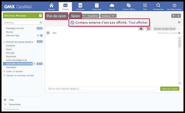 Marquer les e-mails comme spams ou «Pas de spam»