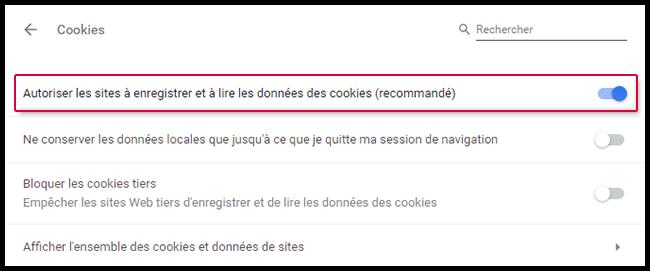 Autoriser les cookies
