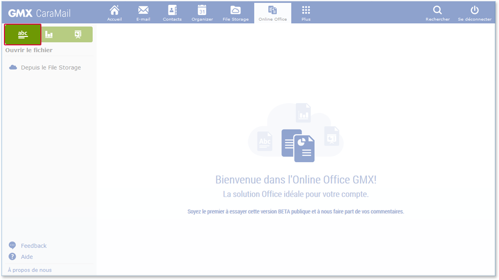 Create new text file in Online-Office